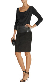 Donna Karan Draped stretch-silk crepe de chine and jersey top