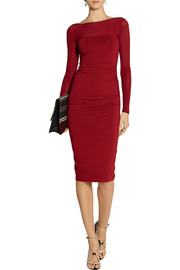 Donna Karan Ruched stretch-jersey and stretch-georgette dress
