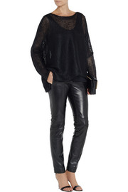 Donna Karan Draped silk and mohair-blend sweater