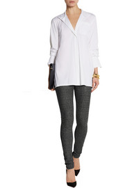 Donna Karan Wool-blend twill and jersey leggings