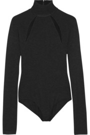 Donna Karan Mesh-paneled stretch-jersey bodysuit