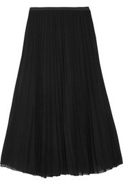 Donna Karan Pleated stretch-silk chiffon midi skirt
