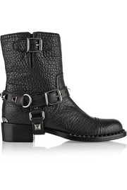 Embellished textured-leather biker boots