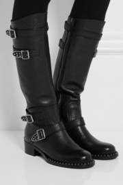 Miu Miu Buckled textured-leather knee boots