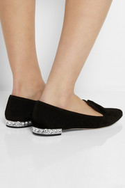 Crystal-embellished suede point-toe flats