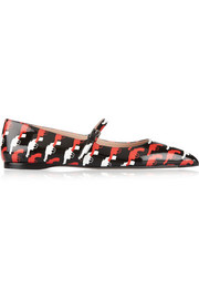 Miu Miu Pistol-print patent-leather point-toe flats