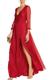 Matthew Williamson Silk-chiffon wrap gown