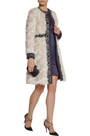Matthew Williamson Embellished wool-paneled mohair coat