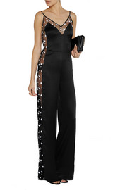 Matthew Williamson Embroidered tulle-paneled satin jumpsuit