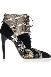 Snake, patent-leather and suede ankle boots