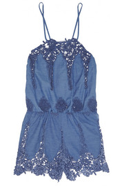 Miguelina Cicely crocheted cotton-blend playsuit