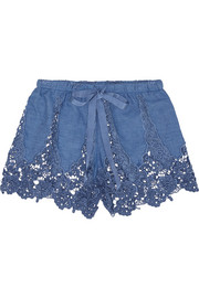 Miguelina Gwen crocheted cotton-blend shorts
