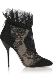 Jimmy Choo Kamaris suede and lace ankle boots