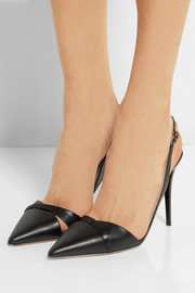 Dense leather and metallic suede pumps
