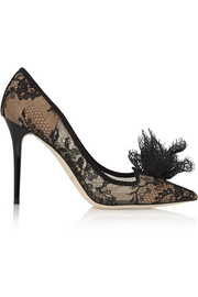Jimmy Choo Duchesse suede-trimmed lace pumps