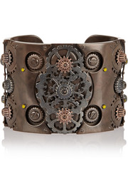 Oxidized and rose gold-plated sterling silver cuff
