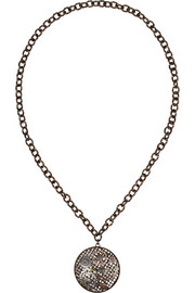 Bottega Veneta Oxidized and rose gold-plated sterling silver pendant necklace