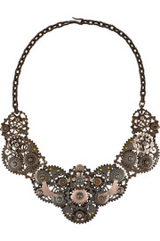 Oxidized and rose gold-plated sterling silver necklace