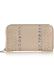 Bottega Veneta Watersnake-trimmed intrecciato leather wallet