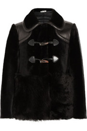 Leather-trimmed shearling duffle coat