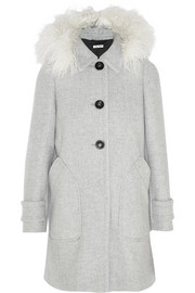 Shearling-trimmed hooded wool coat