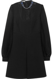 Miu Miu Embellished wool-blend and silk-chiffon mini dress