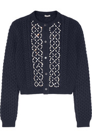 Crystal-embellished cable-knit cardigan