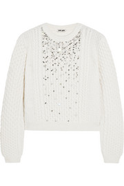 Miu Miu Crystal-embellished cable-knit sweater