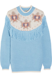 Fringed intarsia knitted sweater