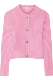 Cropped ribbed cashmere cardigan