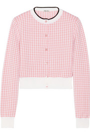 Miu Miu Cropped houndstooth wool cardigan