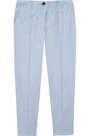 Houndstooth stretch-woven straight-leg pants