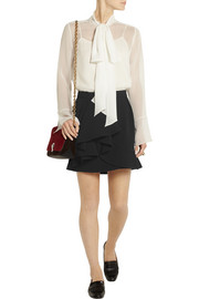 Miu Miu Ruffled crepe mini skirt