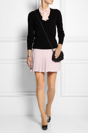 Miu Miu Pleated houndstooth wool mini skirt