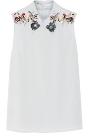 Miu Miu Embellished stretch-crepe top