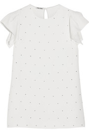 Miu Miu Crystal-embellished cady top