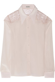 Lace-trimmed silk crepe de chine blouse