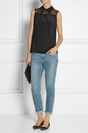 Miu Miu Lace-trimmed silk crepe de chine top