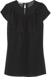 Chiffon-paneled ruffled silk-crepe top
