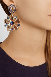 Dolce & Gabbana Fiori gold-plated Swarovski crystal clip earrings
