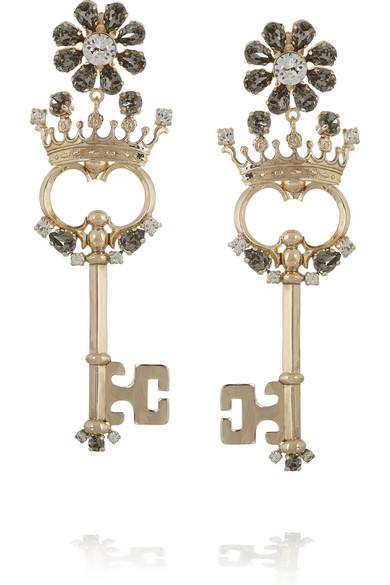cc1cd7e56 Dolce & Gabbana | Chiavi gold-plated Swarovski crystal clip earrings ...