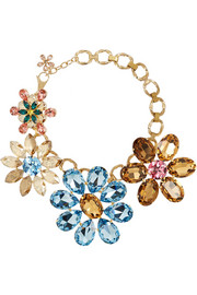 Dolce & Gabbana Fiori gold-plated Swarovski crystal necklace