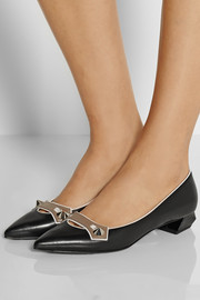 Fendi Stud-embellished leather pumps