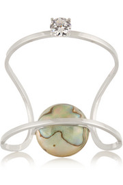 Fendi Silver-tone, crystal and mother-of-pearl cuff