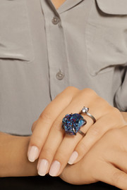 Fendi Palladium-plated druzy and crystal ring