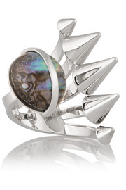 Fendi Silver-plated mother of pearl ring