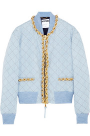 Moschino Chain-trimmed quilted denim bomber jacket