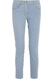 Quilted mid-rise straight-leg jeans