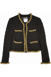 Moschino Chain-trimmed quilted crepe jacket