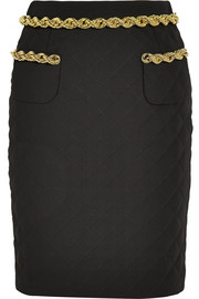 Chain-trimmed quilted crepe skirt